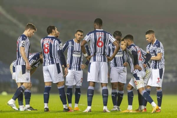 BIRMINGHAM, ENGLAND - Tuesday, January 26, 2021: West Bromwich Albion's captain Jake Livermore (L #8) speaks to his players at half-time with them 4-0 down during the FA Premier League match between West Bromwich Albion FC and Manchester City FC at The Hawthorns. Manchester City won 5-0. (Pic by David Rawcliffe/Propaganda)