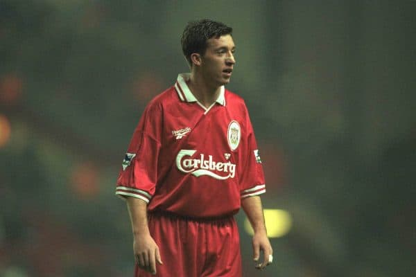 Liverpool, England - Wednesday November 27, 1996: Robbie Fowler of Liverpool in action during the 4-2 victory over Arsenal in the 4th round of the League Cup at Anfield. (Photo by David Rawcliffe / Propaganda)