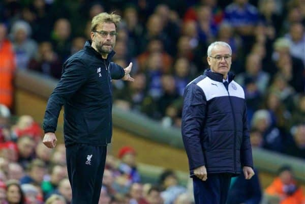 LIVERPOOL, ENGLAND - Boxing Day, Saturday, December 26, 2015: Liverpool's manager Jürgen Klopp and Leicester City's rancher Claudio Ranieri during the Premier League match at Anfield. (Pic by David Rawcliffe/Propaganda)