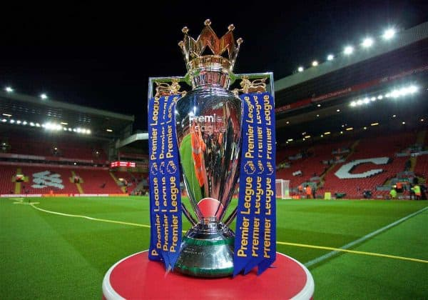 LIVERPOOL, ENGLAND - Monday, October 17, 2016: The Premier League trophy under the floodlights at Anfield before the FA Premier League match between Liverpool and Manchester United. General Image (Pic by David Rawcliffe/Propaganda)
