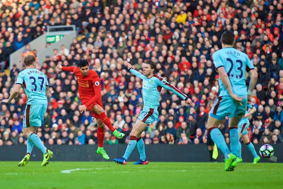 LIVERPOOL, ENGLAND - Sunday, March 12, 2017: Liverpool's Emre Can scores the second goal against Burnley during the FA Premier League match at Anfield. (Pic by David Rawcliffe/Propaganda)