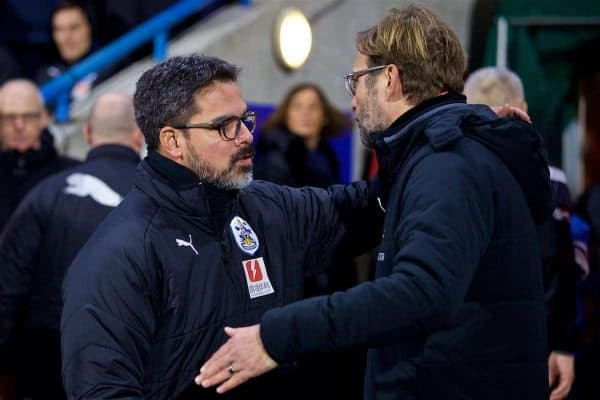 HUDDERSFIELD, ENGLAND - Tuesday, January 30, 2018: Liverpool's manager Jürgen Klopp and Huddersfield Town's manager David Wagner before the FA Premier League match between Huddersfield Town FC and Liverpool FC at the John Smith's Stadium. (Pic by David Rawcliffe/Propaganda)