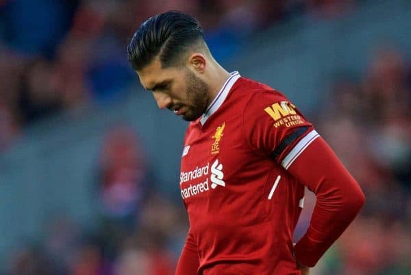 LIVERPOOL, ENGLAND - Saturday, March 17, 2018: Liverpool's Emre Can goes off injured during the FA Premier League match between Liverpool FC and Watford FC at Anfield. (Pic by David Rawcliffe/Propaganda)