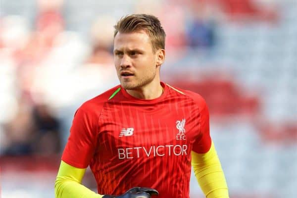 LIVERPOOL, ENGLAND - Saturday, August 25, 2018: Liverpool's goalkeeper Simon Mignolet during the pre-match warm-up before the FA Premier League match between Liverpool FC and Brighton & Hove Albion FC at Anfield. (Pic by David Rawcliffe/Propaganda)