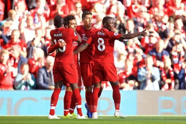 LIVERPOOL, ENGLAND - Saturday, August 25, 2018: Liverpool's Mohamed Salah celebrates scoring the first goal with team-mates during the FA Premier League match between Liverpool FC and Brighton & Hove Albion FC at Anfield. (Pic by David Rawcliffe/Propaganda)