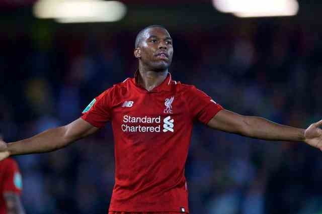LIVERPOOL, ENGLAND - Wednesday, September 26, 2018: Liverpool's Daniel Sturridge celebrates scoring the first goal during the Football League Cup 3rd Round match between Liverpool FC and Chelsea FC at Anfield. (Pic by David Rawcliffe/Propaganda)