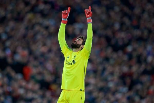 LIVERPOOL, ENGLAND - Wednesday, October 24, 2018: Liverpool's goalkeeper Alisson Becker celebrates the second goal during the UEFA Champions League Group C match between Liverpool FC and FK Crvena zvezda (Red Star Belgrade) at Anfield. (Pic by David Rawcliffe/Propaganda)