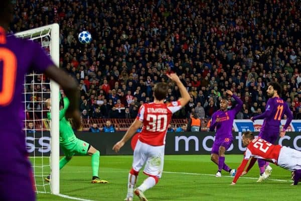 BELGRADE, SERBIA - Tuesday, November 6, 2018: Liverpool's Daniel Sturridge sees his shot go over the bar during the UEFA Champions League Group C match between FK Crvena zvezda (Red Star Belgrade) and Liverpool FC at Stadion Rajko Miti?. (Pic by David Rawcliffe/Propaganda)