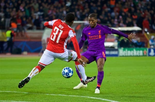 BELGRADE, SERBIA - Tuesday, November 6, 2018: Liverpool's Georginio Wijnaldum (R) and FK Crvena zvezda El Fardou Ben Nabouhane during the UEFA Champions League Group C match between FK Crvena zvezda (Red Star Belgrade) and Liverpool FC at Stadion Rajko Miti?. (Pic by David Rawcliffe/Propaganda)