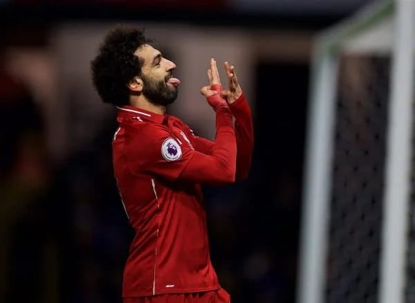 WATFORD, ENGLAND - Saturday, November 24, 2018: Liverpool's Mohamed Salah celebrates scoring the first goal during the FA Premier League match between Watford FC and Liverpool FC at Vicarage Road. (Pic by David Rawcliffe/Propaganda)