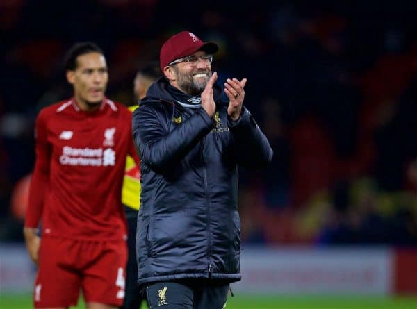 WATFORD, ENGLAND - Saturday, November 24, 2018: Liverpool's manager Jürgen Klopp after the FA Premier League match between Watford FC and Liverpool FC at Vicarage Road. Liverpool won 3-0. Pic by David Rawcliffe/Propaganda)
