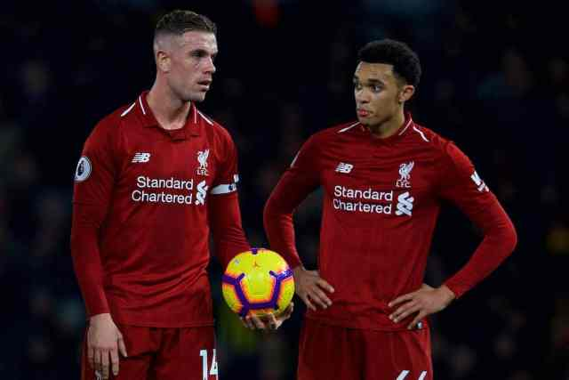 WATFORD, ENGLAND - Saturday, November 24, 2018: Liverpool's captain Jordan Henderson with the ball but Trent Alexander-Arnold takes it off him to score from a free-kick during the FA Premier League match between Watford FC and Liverpool FC at Vicarage Road. (Pic by David Rawcliffe/Propaganda)