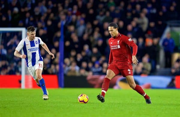 BRIGHTON AND HOVE, ENGLAND - Saturday, January 12, 2019: Brighton & Hove Albion's Pascal Gross (L) and Liverpool's Virgil van Dijk during the FA Premier League match between Brighton & Hove Albion FC and Liverpool FC at the American Express Community Stadium. (Pic by David Rawcliffe/Propaganda)
