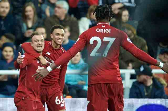 NEWCASTLE-UPON-TYNE, ENGLAND - Saturday, May 4, 2019: Liverpool's Divock Origi celebrates scoring the third goal with team-mates during the FA Premier League match between Newcastle United FC and Liverpool FC at St. James' Park. (Pic by David Rawcliffe/Propaganda)