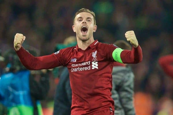 LIVERPOOL, ENGLAND - Tuesday, May 7, 2019: Liverpool's captain Jordan Henderson celebrates after the 4-0 victory (4-3 on aggregate) over FC Barcelona after the UEFA Champions League Semi-Final 2nd Leg match between Liverpool FC and FC Barcelona at Anfield. (Pic by David Rawcliffe/Propaganda)