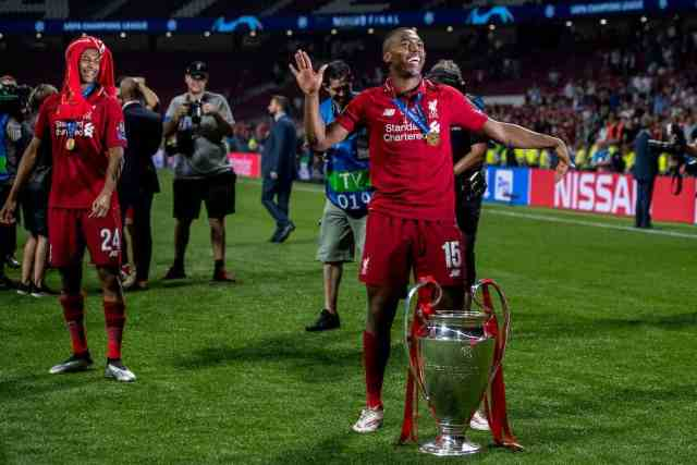 MADRID, SPAIN - SATURDAY, JUNE 1, 2019: Liverpool's Daniel Sturridge dances with the European Cup following a 2-0 victory in the UEFA Champions League Final match between Tottenham Hotspur FC and Liverpool FC at the Estadio Metropolitano. (Pic by Paul Greenwood/Propaganda)
