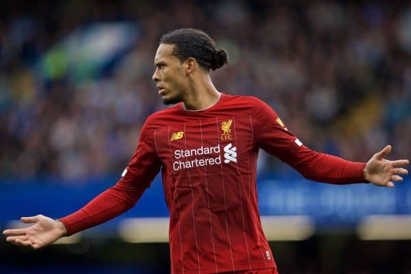 LONDON, ENGLAND - Sunday, September 22, 2019: Liverpool's Virgil van Dijk during the FA Premier League match between Chelsea's FC and Liverpool FC at Stamford Bridge. (Pic by David Rawcliffe/Propaganda)