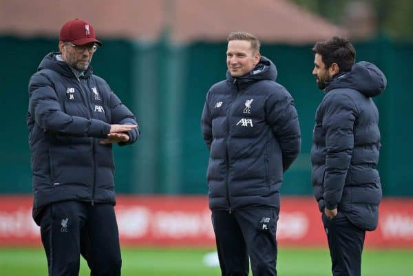 LIVERPOOL, ENGLAND - Tuesday, October 1, 2019: Liverpool's manager Jürgen Klopp (L), first-team development coach Pepijn Lijnders (C) and new coach Vitor Matos (R) during a training session at Melwood Training Ground ahead of the UEFA Champions League Group E match between Liverpool FC and FC Salzburg. (Pic by David Rawcliffe/Propaganda)
