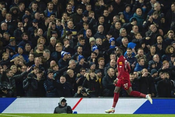LIVERPOOL, ENGLAND - Wednesday, December 4, 2019: Liverpools Divock Origi celebrates scoring the third goal, his second of the game, during the FA Premier League match between Liverpool FC and Everton FC, the 234th Merseyside Derby, at Anfield. (Pic by David Rawcliffe/Propaganda)