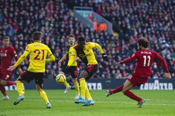 LIVERPOOL, ENGLAND - Saturday, December 14, 2019: Liverpool's Mohamed Salah scores the first goal during the FA Premier League match between Liverpool FC and Watford FC at Anfield. (Pic by Richard Roberts/Propaganda)