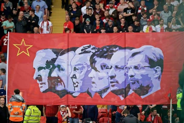 LIVERPOOL, ENGLAND - Friday, August 9, 2019: Liverpool supporters' banner featuring the former managers (L-R) Bill Shankly, Bob Paisley, Joe Fagan, Kenny Dalglish, Rafael Benitez and current manager Jürgen Klopp during the opening FA Premier League match of the season between Liverpool FC and Norwich City FC at Anfield. (Pic by David Rawcliffe/Propaganda)