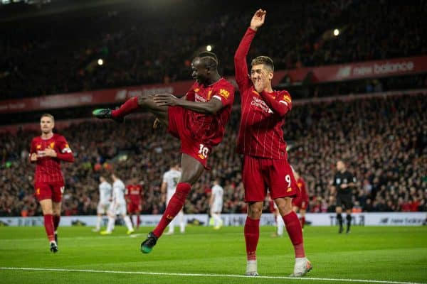 LIVERPOOL, ENGLAND - Thursday, January 2, 2020: Liverpool's Sadio Mané celebrates scoring the second goal during the FA Premier League match between Liverpool FC and Sheffield United FC at Anfield. (Pic by David Rawcliffe/Propaganda)