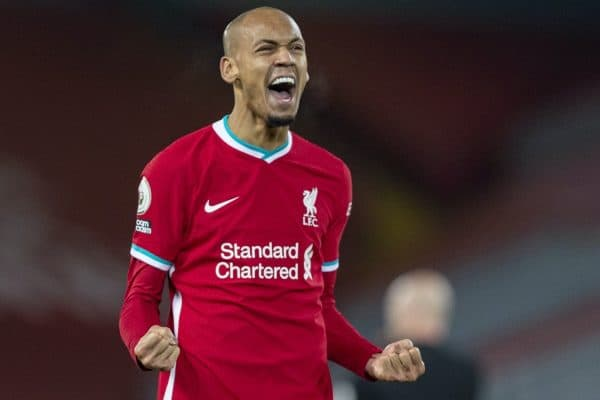 LIVERPOOL, ENGLAND - Wednesday, December 16, 2020: Liverpool's Fabio Henrique Tavares 'Fabinho' celebrates at the final whistle during the FA Premier League match between Liverpool FC and Tottenham Hotspur FC at Anfield. Liverpool won 2-1. (Pic by David Rawcliffe/Propaganda)