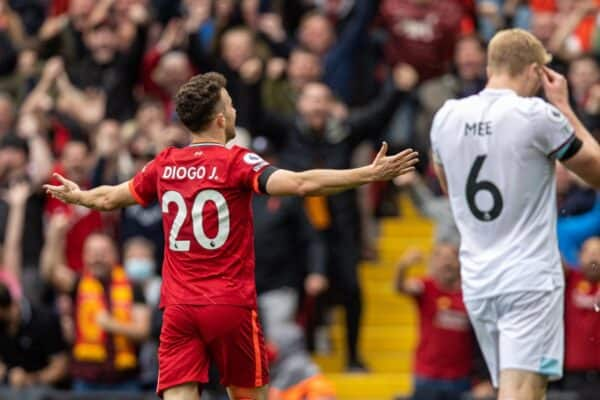 LIVERPOOL, ENGLAND - Saturday, August 21, 2021: Liverpool's Diogo Jota celebrates after scoring the first goal during the FA Premier League match between Liverpool FC and Burnley FC at Anfield. (Pic by David Rawcliffe/Propaganda)