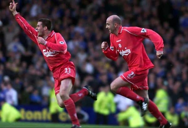 Gary McAllister (right) celebrates scoring Liverpool's winnnig goal with Jamie Carragher during the Premiership clash at Goodison Park against Everton.