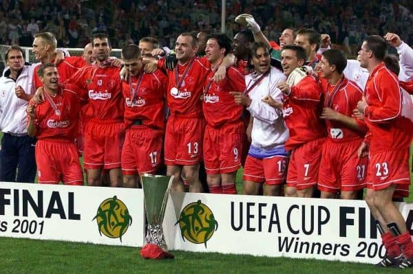 Liverpool team celebrate after winning the UEFA cup on the Golden Goal rule against CD Alaves in the UEFA Cup Final at the Westfalen Stadium, Dortmund. (Picture by: David Davies / PA Archive/Press Association Images)
