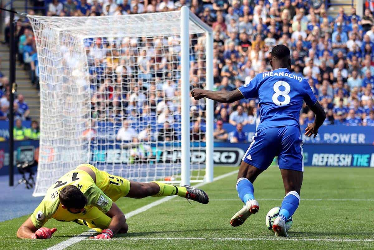 Leicester City's Kelechi Iheanacho wins the ball off Liverpool goalkeeper Alisson Becker in the area leading to his side's first goal