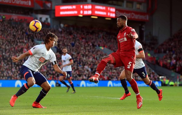 Liverpool's Georginio Wijnaldum scores his side's second goal of the game during the Premier League match at Anfield, Liverpool. ( Peter Byrne/PA Wire/PA Images)