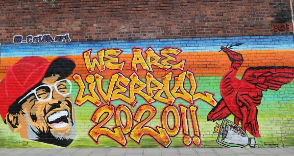 A new mural of Liverpool manager Jurgen Klopp on a wall in the Baltic Triangle area of Liverpool after the club became champions of England for the first time in 30 years. PA Photo. (Peter Byrne/PA Wire/PA Images)