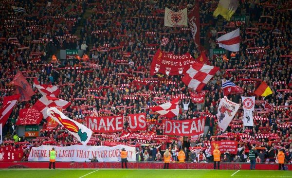 LIVERPOOL, ENGLAND - Sunday, April 13, 2014: Liverpool fans on the Spion Kop before the Premiership match against Manchester City at Anfield. (Pic by David Rawcliffe/Propaganda)