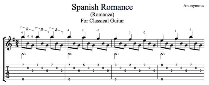 Classical Guitar Tabs : spanish romance romanza free pdf or tab this is classical guitar ~ Russianpoet.info Haus und Dekorationen