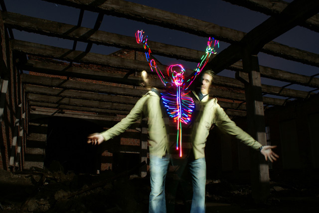 Light Skeletons and Figures Painted in Camera by Janne Parviainen photography light