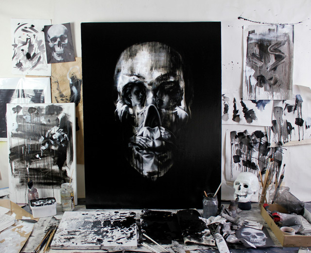New Optical Illusion Skull Portraits by Tom French painting art anatomy