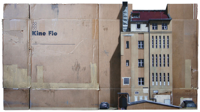 Urban Cityscapes Spray Painted on Cardboard Panels by EVOL street art stencils graffiti