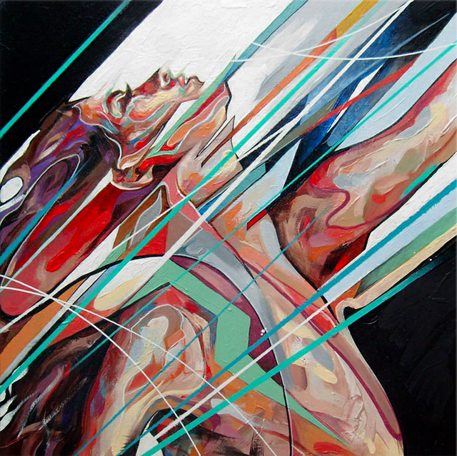 Explosive Mixed Media Paintings by Danny OConner painting art