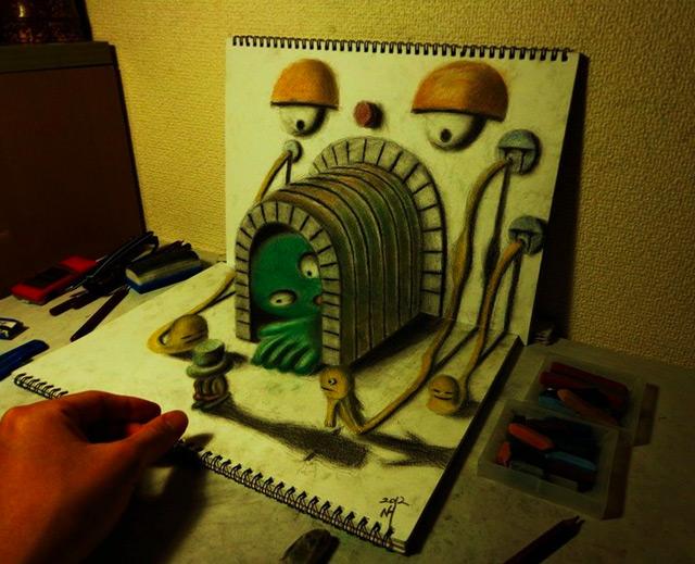 3D Illusion Sketchbook Drawings by Nagai Hideyuki illustration illusion drawing 3d