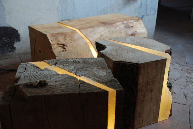 Lamps Made from Sawmill Waste and Tree Branches Embedded with Resin and LEDs wood upcycling lighting home