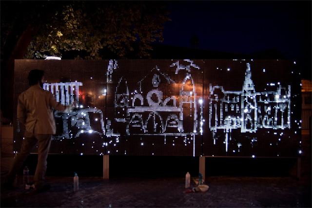 Water Light Graffiti: A Moisture Sensitive Surface Embedded with LEDs Creates Illuminated Art street art light graffiti device