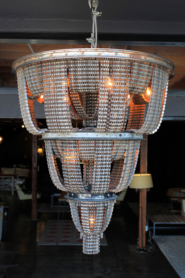 Chandeliers Made from Salvaged Bicycle Parts recycling lighting design bicycles