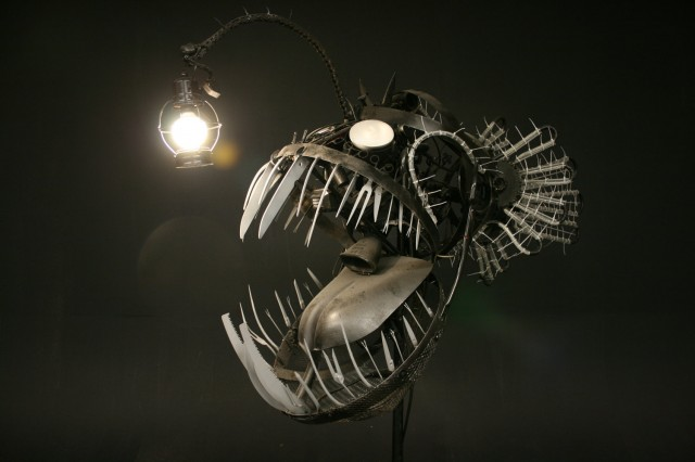 Terrifying Deep Sea Angler Lamp Made from Recycled Objects sculpture recycling lighting fish assemblage