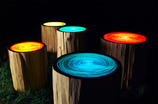 Tree Ring Lights by Judson Beaumont  wood trees lighting furniture