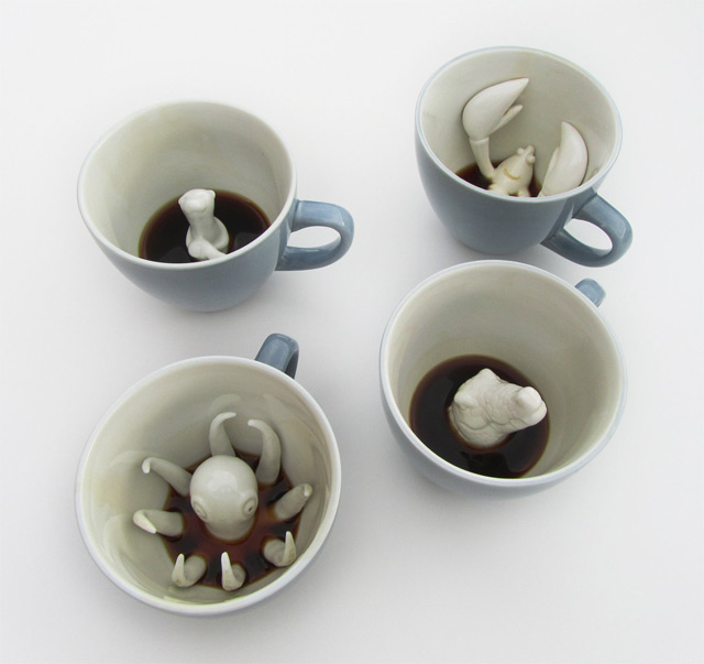 Creature Cups: A Wildlife Surprise in your Coffee Cup  tea home cups coffee ceramics