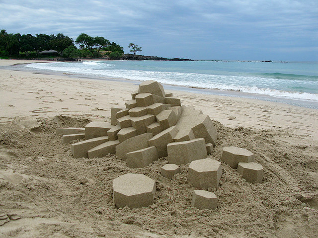 Geometric Sandcastles by Calvin Seibert sculpture sand geometric
