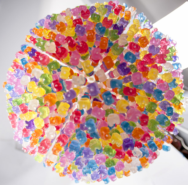 Chandelier Made from 3,000 Gummy Bears by Kevin Champeny multiples lighting candy bears