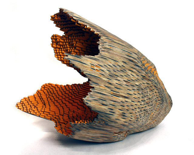 Organic Sculptures Sanded from Hundreds of Pencils by Jessica Drenk sculpture pencils multiples