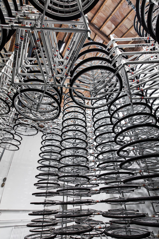 Stacked by Ai Weiwei: 760 Stacked Bicycles at Galleria Continua multiples installation bicycles